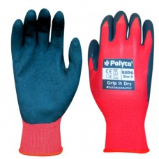 Lightweight Polyco Grip it Dry Sponge Latex Coated Red Nylon Liner Work Glove