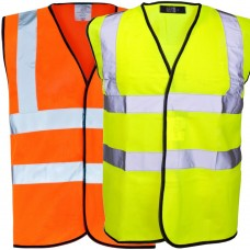 Standard Class 2 Hi Visibilty Vest Waistcoat Yellow or Orange Velcro Fastening