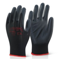 Click 2000 Eco Puggy Black PU Palm Coated on Black Polyester Liner Precision Work Gloves