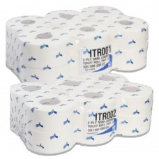 "Mini Jumbo Toilet Rolls, 2.25"" or 3"" core 150M long 12 Rolls in a pack"