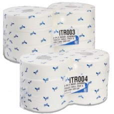 "Maxi Jumbo Toilet Rolls 2.25"" or 3"" Core 300M Long 6 Rolls in a Pack"