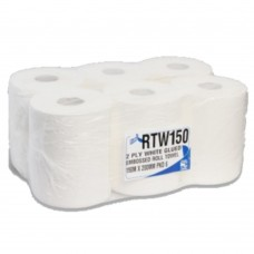 White Roll Hand Towel 2 ply 110M Length and 200mm Width 6 Rolls Per Pack