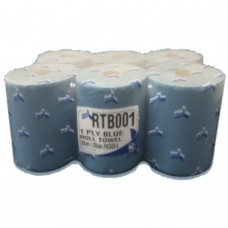 Blue Roll Hand Towel 1 ply 110M Length and 200mm Width 6 Rolls Per Pack