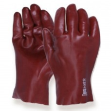 Standard Red PVC gauntlet open cuff 11 inch gloves