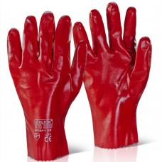 Click Bright Red PVC gauntlet open cuff 11 inch gloves