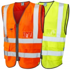 Summer COOLVIZ Executive Zipped High Vis Waistcoat phone and ID holder Class 2
