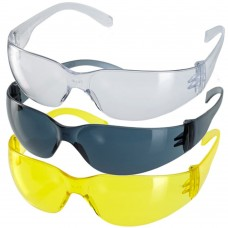 EN166 Budget Lightweight Frameless Clear, Yellow or Smoke Safety Glasses