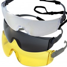 Wraparound Large One Piece Frameless Safety Glasses & Cord EN166 1F