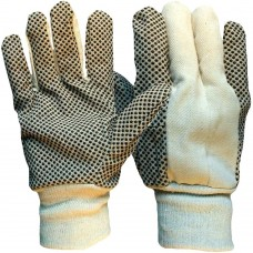 Cotton Drill PVC Polka Dot Grip Work Gloves Mediumweight 8oz