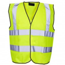 Builders Scaffolders Short High Visibility Yellow Vest Class 1