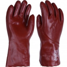"Chemical & Solvent Resistant Rednek Red PVC 35cm 14 "" Gauntlet"