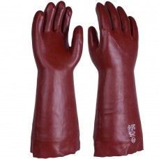 "Chemical & Solvent Resistant Rednek Red PVC 45cm 18"" Gauntlet"