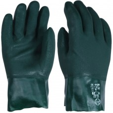 "Chemical Resistant Anti Static Green PVC Double Dipped 11"" Gauntlet"