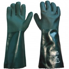 "Chemical & AntiStatic Handling Green PVC Double Dipped 16"" Gauntlets"