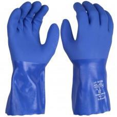 Blue PVC Chemical, Cold Resistant Food Safe, AntiStatic Gauntlets 12""