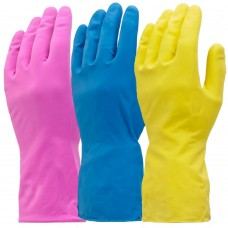 Washing Up Gloves Mediumweight Flock Lined 3 colours