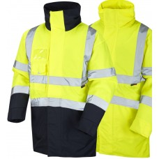 Leo Superior High Visibility Class 3 Yellow / Yellow & Navy Rain Proof Coat