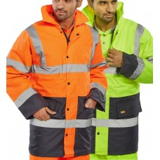 Two Tone Class 3 High Visibility Waterproof Coat Click B-Seen
