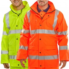 Breathable, Lightweight PU Coated Waterproof Click BSeen Class 3 Hi Vis Coat