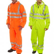 PU Coated Coverall Breathable Fabric Waterproof Lightweight High Vis Class 3