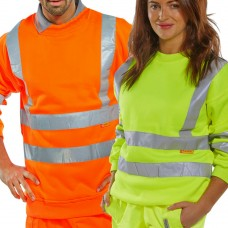Click BSeen Pull on Sweatshirt Hi Visibility Yellow or Orange Class 3