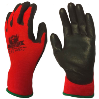SafeT Traffic Light Red Nylon with Black PU Palm Work Gloves