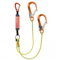 heightec® Elite Twin lanyard with triple action karabiner, scaffold hooks and energy absorber
