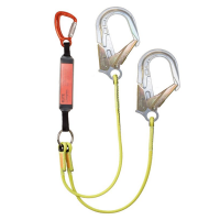 ELITE twin lanyard, 1.6m  triple action karabiner, ANSI hook