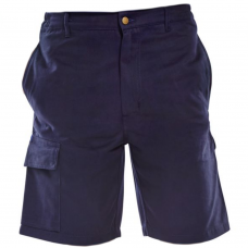 100% Cotton Navy Cargo Work Shorts with Five Pockets