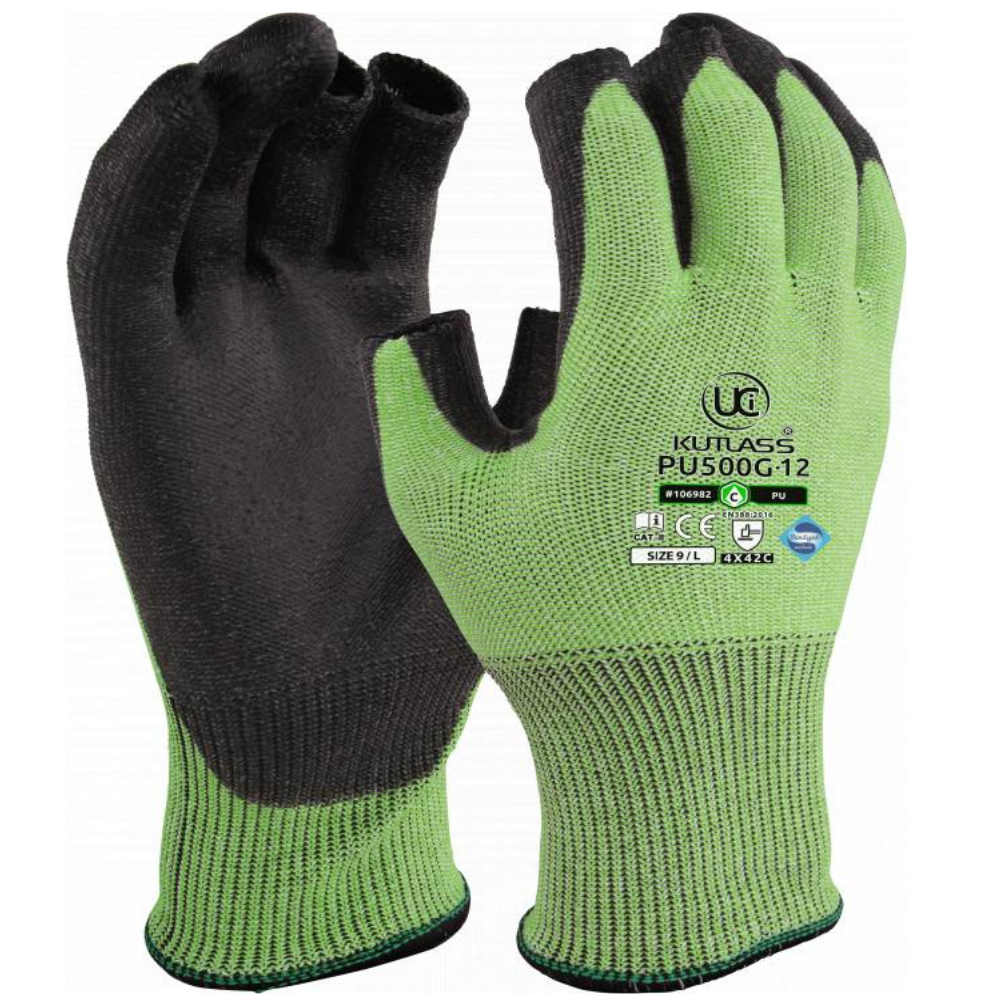 2 PAIRS X LARGE KEEP SAFE PU PALM GLOVES BLACK MEDIUM LARGE