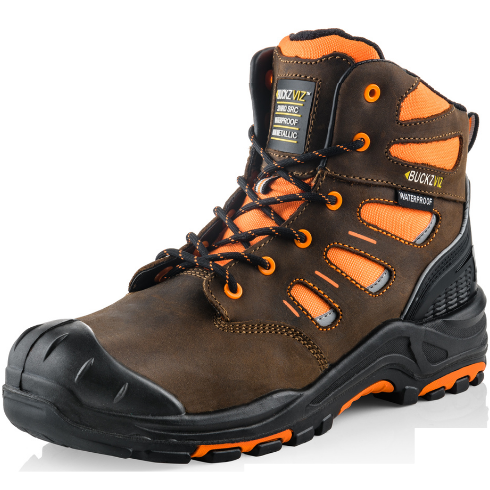 Orange safety boots from Buckler boots