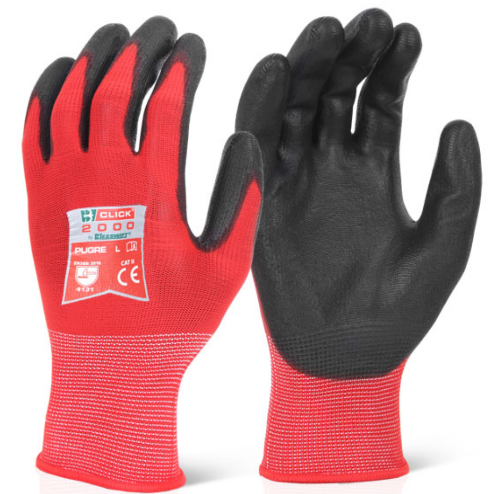 CLICK 2000 RED PUGGY PU PALM COATED GLOVES