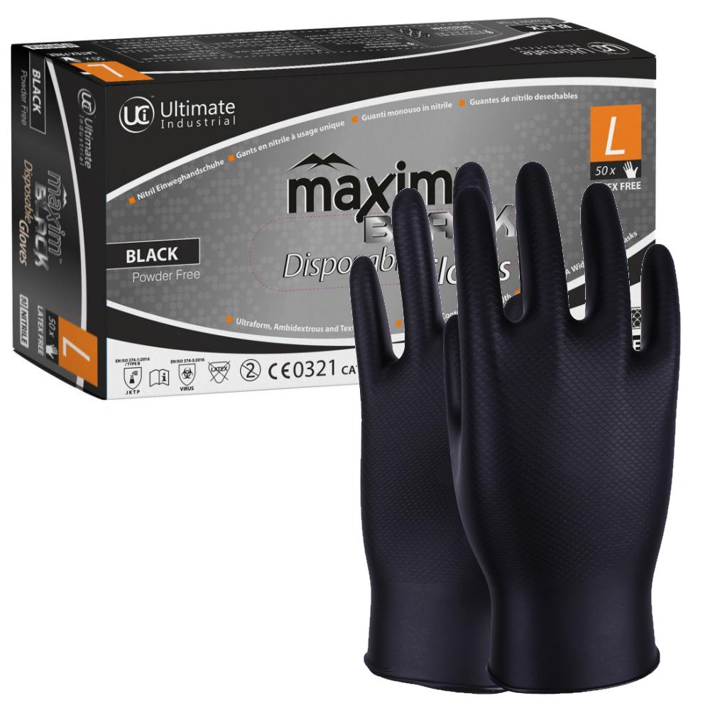 4 mil UCI 100 x Black Nitrile Powder Free Disposable Gloves