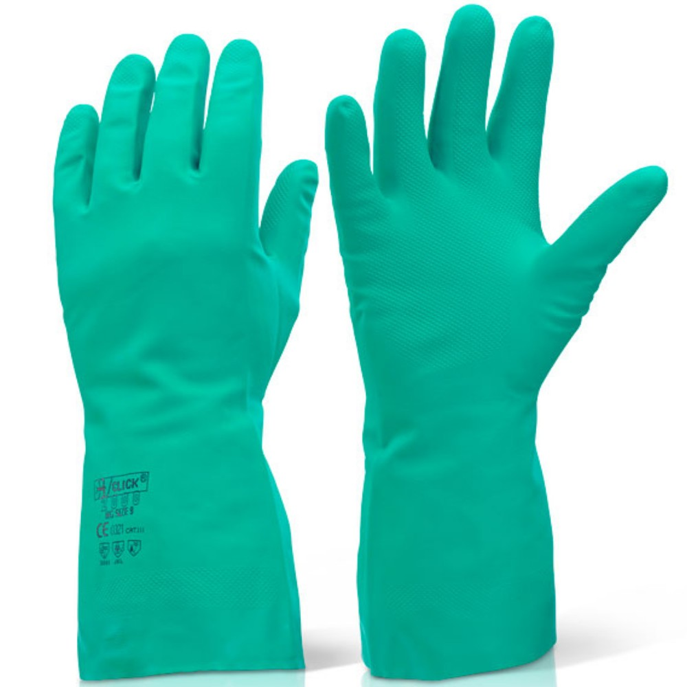 Click Green Nitrile Latex Free Flock Lined Gauntlet